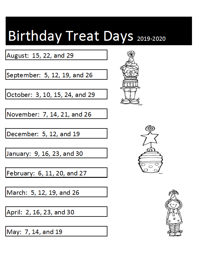 birthday treat schedule